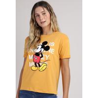 Blusa Feminina Mickey Ampla Manga Curta Decote Redondo Mostarda