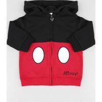 Blusão Infantil Mickey Com Capuz Em Moletom Preto
