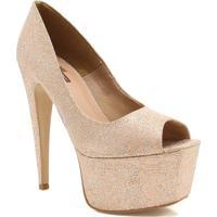 Sapato Peep Toe Zariff Salto Alto Dourado