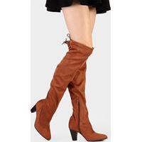 Bota Bebecê Over Knee Salto Grosso - Feminino-Caramelo