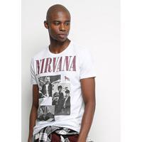 Camiseta Acostamento Rock Edition Nirvana Masculina - Masculino-Branco