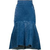 Balenciaga Saia Jeans Godê Midi - Azul
