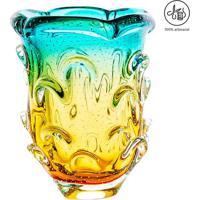 Vaso Mã©Dio Texturizado- Verde ÁGua & ÂMbar- 26Xã˜18Cmcristais Sã£O Marcos