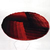 Tapete Silk Shaggy 3D Redondo 1,50M Bordô Graffi