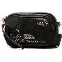 Versace Jeans Couture Bolsa Transversal Com Placa De Logo - Preto