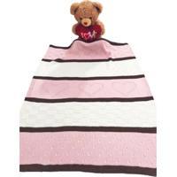 Manta Bebê Tricot Tricô 3 Cores Maternidade Recém Nascido Cod 1049.1 Rosa