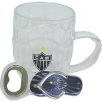 Kit Abridor De Garrafas+Caneca De Vidro 280Ml Atlético Mineiro - Unissex