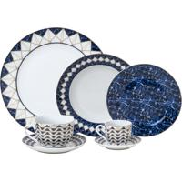 Aparelho De Jantar Wolff Emirates 42 Peças Porcelana Branco E Azul