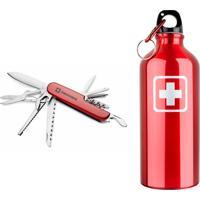 Kit Canivete C/ Abridor, Vermelho + Garrafa 600Ml, Vermelha - Swisswin