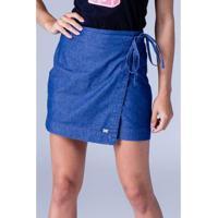 Saia Jeans Equivoco Ivy Feminina - Feminino-Azul