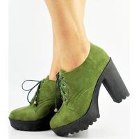 Sapato Oxford Salto Alto Tratorado Feminino - Feminino-Verde