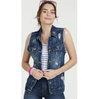 Colete Feminino Jeans Destroyed Sawary
