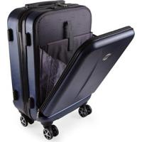 Mala De Viagem Pequena Bordo Executiva Para Notebook Entrada Usb Abs Ika Premium Cadeado Tsa - Unissex-Azul