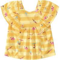 Blusa De Flamingos Com Recorte - Amarela & Rosa - Jumalwee
