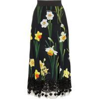Dolce & Gabbana Saia Floral Com Renda - Preto
