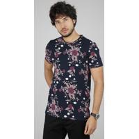 Camiseta Masculina Bbb Slim Estampada Floral Manga Curta Gola Careca Azul Marinho