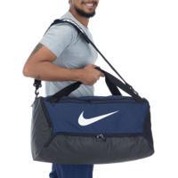 Mala Nike Brasilia M 9.0 - 60 Litros - Azul Esc/Branco