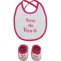 Kit Feminino Babador E Pantufa Suedine Sou Do Vovô Pink - Feminino-Pink