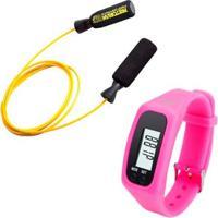 Kit Corda De Pular Em Aço Revestido Amarela Pretorian + Relógio Pedômetro Rosa Liveup Ls3348R - Unissex