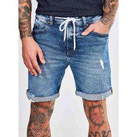 Bermuda Jeans Com Cadarço E Barra Dobrada