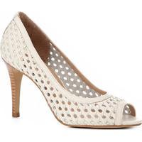 2991512ac ... Peep Toe Couro Shoestock Salto Fino Tressê - Feminino-Off White