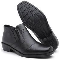 Bota Social Masculina Sw Shoes Botina Couro Preto Infantil E Adulto