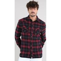 60f4a54a2d Camisa Masculina Estampada Xadrez Com Suede Manga Longa Vermelho Escuro