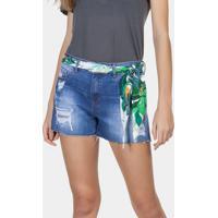 Shorts Jeans Sunset Com Lenço Jeans - Lez A Lez