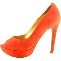Peep Toe Infinity Shoes Meia Pata Laranja