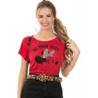 Blusa Com Bordado De Lantejoulas Vermelho Disney