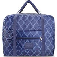 Bolsa De Viagem Dobrável- Azul Marinho & Azul Claro-Jacki Design