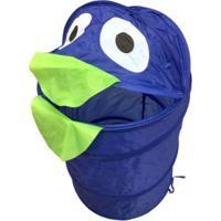 Cesto Organizador Roupa Suja Brinquedos Dobrável Infantil Azul