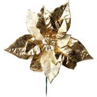 Flor Artificial Decoração Natal Poinsetia Glitter Dourado