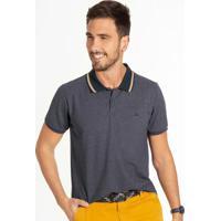Camiseta Masculina Polo Com Bordado Cinza