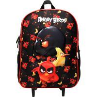 Mochila De Rodinhas Santino 3D Angry Birds Preta/Vermelha/Amarela