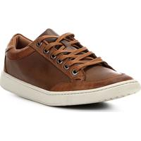 Sapatênis Couro Shoestock Recortes Masculino - Masculino-Marrom
