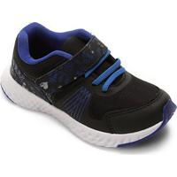 Tênis Infantil No Stress Detalhe Velcro Running - Masculino-Preto+Azul