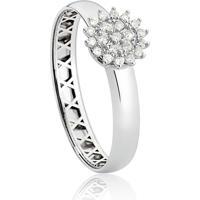 Anel De Ouro Branco 18K Chuveiro Com Diamantes-Coleção Soleil.
