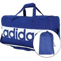 Mala Adidas Linear Performance Duffel M - Azul Esc/Branco