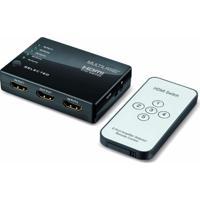 Switch Hdmi Com 5 Portas Alta Definição De 1080P + Controle Remoto Preto Multilaser