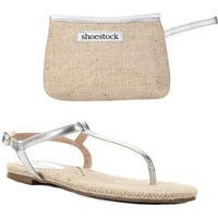 Kit Shoestock Rasteira Palmilha Corda+Necessaire Juta - Feminino-Prata