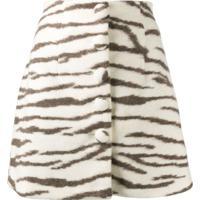 Andamane Zebra-Print Mini Skirt - Branco