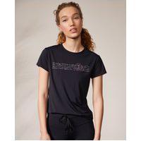 Amaro Feminino Camiseta Run Biodegradável Estampada, Preto