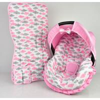 Conjunto Capa De Bebê Conforto E Capa De Carrinho Alan Pierre Baby 0 A 13 Kg - Nuvem Rosa Nova