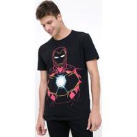 Camiseta Com Estampa Homem De Ferro - Brilha No Escuro