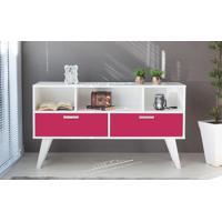 Armário Buffet Vintage 02 Gavetas Para Sala Rosa Pink Cristal 135X38,5X73 Cm