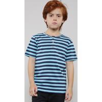 Camiseta Infantil Listrada Manga Curta Gola Portuguesa Azul