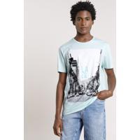 """Camiseta Masculina Cidade """"La Cali"""" Manga Curta Gola Careca Verde Água"""