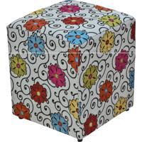 Puff Quadrado Decorativo Tecido Linho Floral 537 Lym Decor Colorido