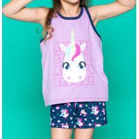 Pijama Unicórnio - Lilás & Azul Marinhopuket